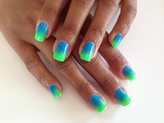 Custom Colour Neon Green and Blue Gel Overlay... OMBRE NAILS :)  www.angelicnails.co.za