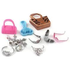 Barbie Doll Set 18pcs Bag Comb High Heels Necklace Hairpin Glasses Bracelet | eBay