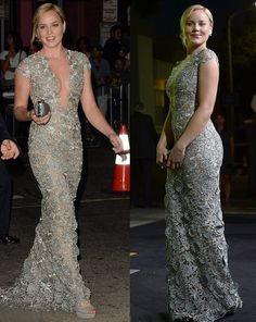 Abbie Cornish Show Her Curves In Low-Cut Lace Gown at Seven Psychopaths Premiere