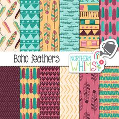 Boho Feather Digital Paper - tribal patterns and feathers in purple, teal, pink, and gold - seamless patterns - commercial use
