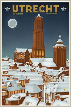 Travel Poster - Utrecht - The Netherlands -by Tim Louisse. Utrecht, Rotterdam, Party Vintage, Vintage Ads, Images Of England, Tourism Poster, Old Advertisements, Advertising, Travel Ads