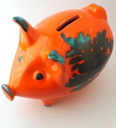 Hey, I found this really awesome Etsy listing at https://www.etsy.com/listing/192334413/orange-floral-piggy-bank-italian-glazed