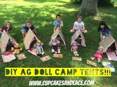 DIY American Girl Doll Camping Tent Craft Tutorial (Good Build A Bear Size too! Diy Ag Dolls, Ag Doll Crafts, American Girl Parties, American Girl Diy, Daisy Girl Scouts, Girl Scout Troop, Tent Craft, American Girl Accessories, Camping Accessories
