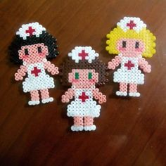 Nurses hama beads by meerrcediitass by taylor Perler Beads, Perler Bead Art, Pearler Bead Patterns, Perler Patterns, Pixel Beads, Hama Beads Design, Diy Accessoires, Fusion Beads, Iron Beads