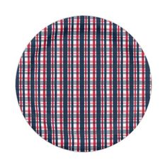 An original graphic design by Shelley Neff Design and Photography featuring a repeating plaid pattern of blue, white and red. A perfect design for any Washington sports fan!