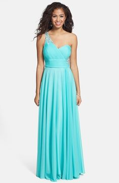 beae4b55 Xscape Embellished One-Shoulder Jersey Gown available at #Nordstrom Tiffany Blue  Dress, Full