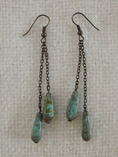 Light Turquoise Color Stone Bead Dangle Earrings by StitchMetal, $10.00