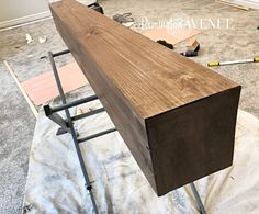 The easiest DIY wood mantel ever! I'm not a pro, but this mantel looks so good! Come join me for a fun tutorial and inexpensive project! Rustic Fireplace Mantels, Diy Mantel, Wood Fireplace Mantel, Build A Fireplace, Home Fireplace, Fireplace Design, Mantle Ideas, Painted Fireplaces, Fireplace Stone