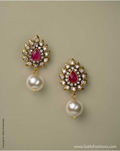 Pearl & Ruby Ear rings