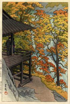 Kawase Hasui,Autumn at Fukuroda falls, Ibaraki Prefectur (Fukuroda-no-taki(Ibaraki ken)) / 袋田の瀧(茨城県), Woodblock print,ink and color on paper,Date:1954,Vertical ōban,Hotei:P594 #599,<--- Fukuroda,Daigo-machi,Kuji-gun,Ibaraki prefecture, Japan --->