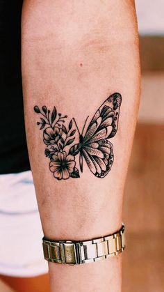 Butterfly Thigh Tattoo, Butterfly Tattoos For Women, Butterfly Tattoo Designs, Small Tattoo Designs, Tattoos For Women Small, Small Tattoos, Butterfly With Flowers Tattoo, Small Pretty Tattoos, Delicate Tattoos For Women