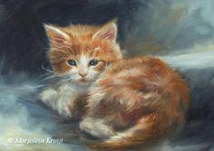 'Rode kitten', 18x13 cm, olieverf (verkocht)