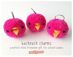 MollyMooCrafts Pom Poms - school bag charms & keyrings