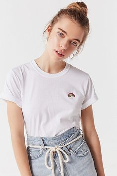 Slide View  2  UO Embroidered Rainbow Tee Pride Outfit, Tees For Women,. Urban  Outfitters 80cf8f5da1