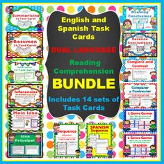 Dual Language Reading Comprehension Bundle Includes 14 Sets with a total of 342 Task Cards in English and Spanish, perfect for your Dual Language Classroom!   All set of Task Cards include an Answer Key and Student Recording Sheets.  These are prefect for you literacy centers, small group instruction or as a game of Scoot.Bundle includes the following Task Cards:24 - Summary Task Cards24  Resumen (SPANISH) Task Cards24  Inference Task Cards24  Inferencias (SPANISH) Task Cards20  Main Idea…