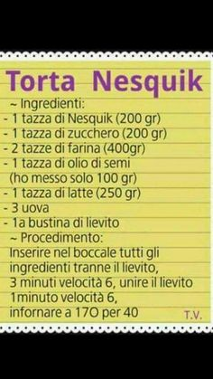 Sweet Recipes, Cake Recipes, Nesquick, Italian Cookies, Happy Foods, Recipe Cards, Health Remedies, Gelato, Nutella