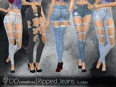 Riped Jeans, Sims 4 Clothing, Ts4 Cc, City Living, Skinny Jeans, Female, Clothes For Women, Pants, Fashion