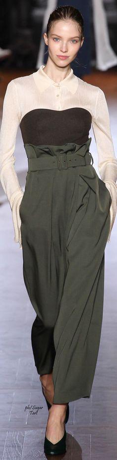 Stella McCartney F-15 RTW: paper-bag waistband palazzo pants, corset, long…
