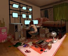 #Cyberpunk, hacker, computers, UI, displays, apartment