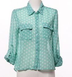 $26.50 Mint Dot Blouse