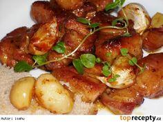 Česnekový bůček na pivě Czech Recipes, Ethnic Recipes, Snack Recipes, Snacks, Bucky, Chicken Wings, Pork, Food And Drink, Sweets