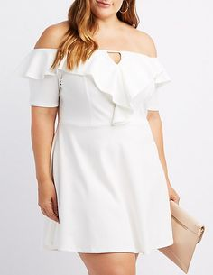 Plus Size Off-The-Shoulder Ruffle-Trim Skater Dress