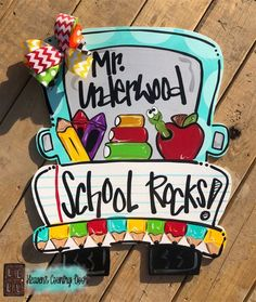 Teacher Door Hangers, Letter Door Hangers, Teacher Doors, Burlap Door Hangers, Teacher Appreciation Gifts, Teacher Gifts, Mauritius, Door Hanger Template, Wooden Truck