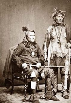 18016287 Chief Crane of the Potawatomi, holding tomahawk and with unidentified  Native American man in a delegation to Washington, D.C, in 1860