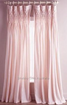 Shabby French Provincial Curtains Drapes 2 Vintage Pink Smocked Panels Chic New