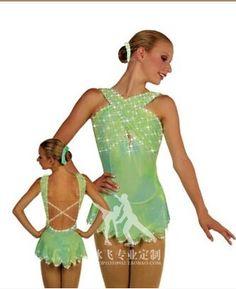 Patinaje artístico ropa mujer luz verde de custome vestido de patinaje para mujeres tamaño libre personalizar diamante(China (Mainland))