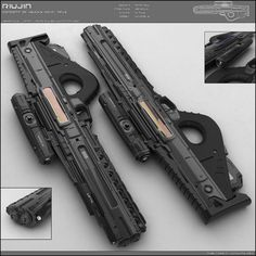 """Concept of futuristic SMG for fictional scenario. It is energy based. No ammo but battery sockets in the handle. Design is minimalist. Front mask contains """"Barrel"""", camera and light at the bottom. ..."""