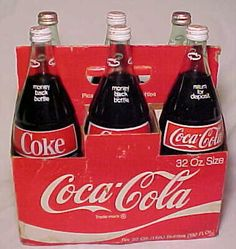 C1970s RARE Coca Cola 32 Ounce Six Pack ACL Glass Soda Bottles