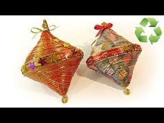 Cómo hacer adornos de Navidad reciclados. Recycled ornaments - YouTube