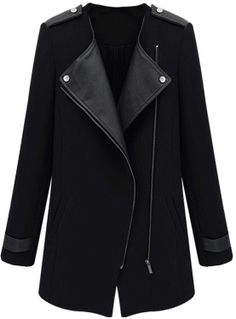 Shop Black Contrast PU Leather Trims Oblique Zipper Coat online. Sheinside offers Black Contrast PU Leather Trims Oblique Zipper Coat & more to fit your fashionable needs. Free Shipping Worldwide!