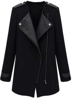 Mantel mit PU-Ledereinsätzen und schrägem Reißverschluss, schwarz 24.86