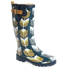 """Chooka 'Vintage Tulip' Rain Boot, 1"""" heel ($70) ❤ liked on Polyvore featuring shoes, boots, mid-calf boots, navy, mid calf rain boots, navy blue boots, wellies boots, lug sole boots and navy boots"""