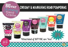 Big fat yummy hand Creme. Non greasy! Perfect size for a purse! Great for gifts! Www.indulgeinposh.com
