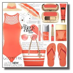"""""""Coral Blast"""" by asiyaoves ❤ liked on Polyvore featuring Seafolly, Havaianas, Burberry, Michael Kors, Lanvin, Dolce&Gabbana, Harrods, Estée Lauder, Ilia and Ray-Ban"""