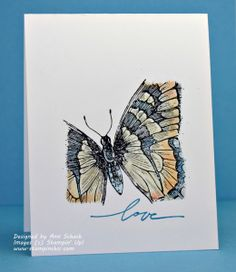 The ink is black…the page is white! After masking off the edges of the card base, the Swallowtail image was inked in Jet Black StazOn, creating a crisp, sharp image that jumps off the page. Colors: So Saffron, Tangerine Tango, Pacific Point--keep colors light