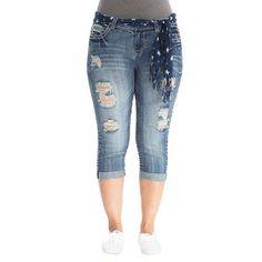 Plus Size Destructed Capri Jeans