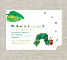 The Hungry Caterpillar Birthday Invitations. $25.00, via Etsy.