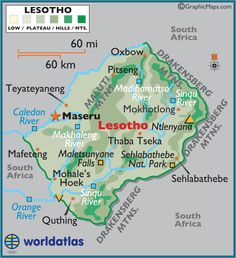 Lesotho officially the Kingdom of Lesotho, is a landlocked country and enclave, completely surrounded by its only neighbouring country, South Africa. It is just over 30,000 km² in size and has a population slightly over two million. Its capital and largest city is Maseru. Independence from the United Kingdom 4 October 1966. Official languages- Sesotho and English