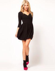 ASOS | ASOS Skater Dress With Ballet Wrap and 3/4 Sleeve at ASOS
