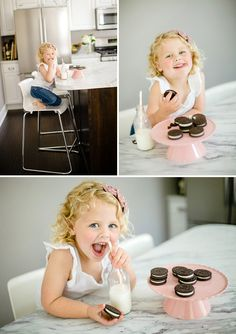 such a great idea for kids portraits - adorable milk and cookies photo shoot, with Dad since John eats his milk and cookies every night :)