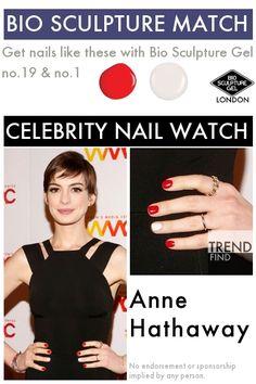 Match Anne Hathaway with Bio Sculpture Gel & Bio Sculpture Nails, Celebrity Nails, Get Nails, Anne Hathaway, Celebs, Celebrities, Beauty, Celebrity, Beauty Illustration