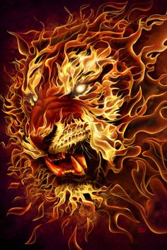 'Fire Tiger' by Tom Wood. Click for full size. Would make a great tattoo!