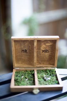 Ring Box with Wood Burned Text and lined with Moss by MossyGifts, $20.00