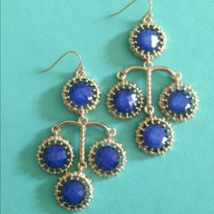 Sapphire Blue And gold Fashion Earrings Sapphire Blue And gold Fashion Dangles Earrings Jewelry Earrings
