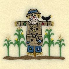 Scarecrow with Corn - 4x4 | What's New | Machine Embroidery Designs | SWAKembroidery.com Starbird Stock Designs