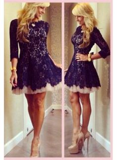 $129--2014 New Arrival Cocktail Dresses Jewel Black Full Lace from Babyonlinedress.com